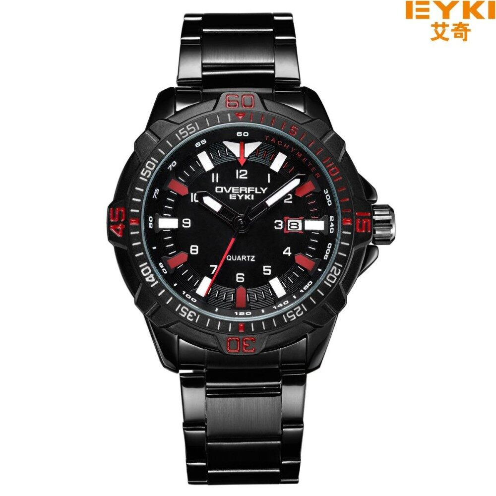 ขาย Overfly Eyki Quartz Clock Wrist Watch Black Stainless Steel รุ่น 3055 Eyki เป็นต้นฉบับ