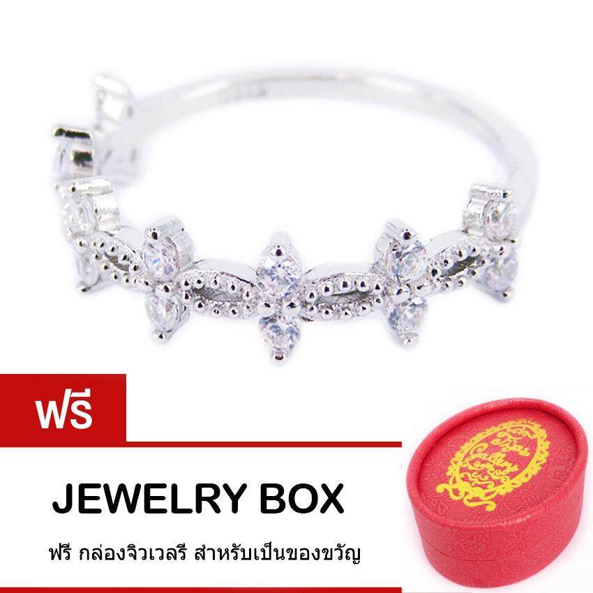 ทบทวน Tips Gallery แหวนเงินแท้ Pure Sterling Silver 925 หุ้มทองคำขาว ประดับเพชร รัสเซีย 42 กะรัต รุ่น Infinity Princess Ring Design Trs004 ฟรี กล่องจิวเวลรี