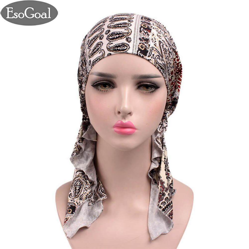 ราคา Esogoal Women Muslim Hijab Pre Tied Bandana Turban Chemo Head Wrap Scarf Sleep Hair Cover Hat Headwear ใน จีน