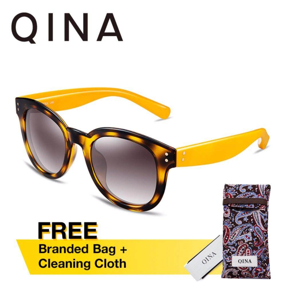 ส่วนลด Qina แว่นกันแดดโพลาไรซ์สำหรับผู้หญิง กรอบทรงตาแมวลายกระขาแว่นสีเหลือง เลนส์ป้องกันรังสี Uv400 สีเทา Qina ฮ่องกง