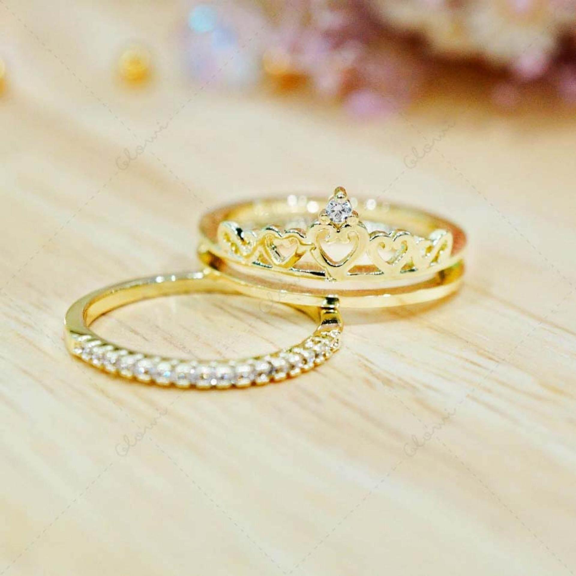 ขาย ซื้อ Bewi G แหวนผู้หญิง สไตล์ แหวนเพชร Ring ชุบทอง ประดับเพชร Cz ดีไซน์ลวดลาย มงกุฏ Princess Style 2 วงใน 1 เดียว รุ่น Bg R0021 สีทอง Gold