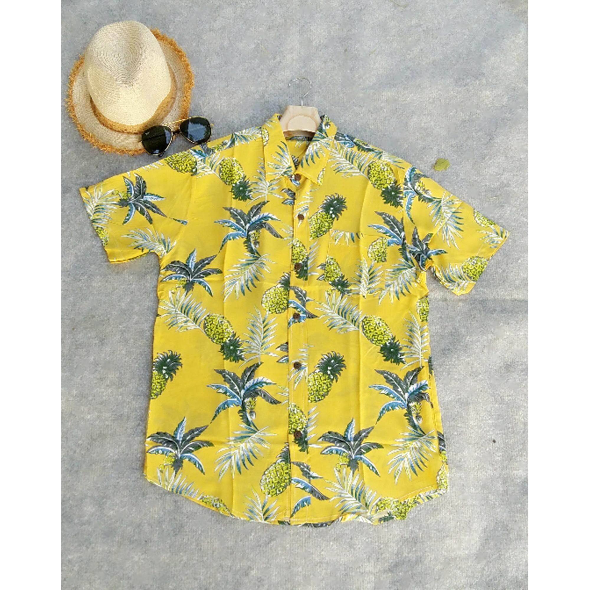 ขาย Mama Shop เสื้อเซิ้ตฮาวาย พิมพ์ลายสับปะรด พื้นสีเหลือง คอปก ไซส์ L ผ้านิ่มใส่สบาย รุ่น Mb 079 Mama Shop เป็นต้นฉบับ