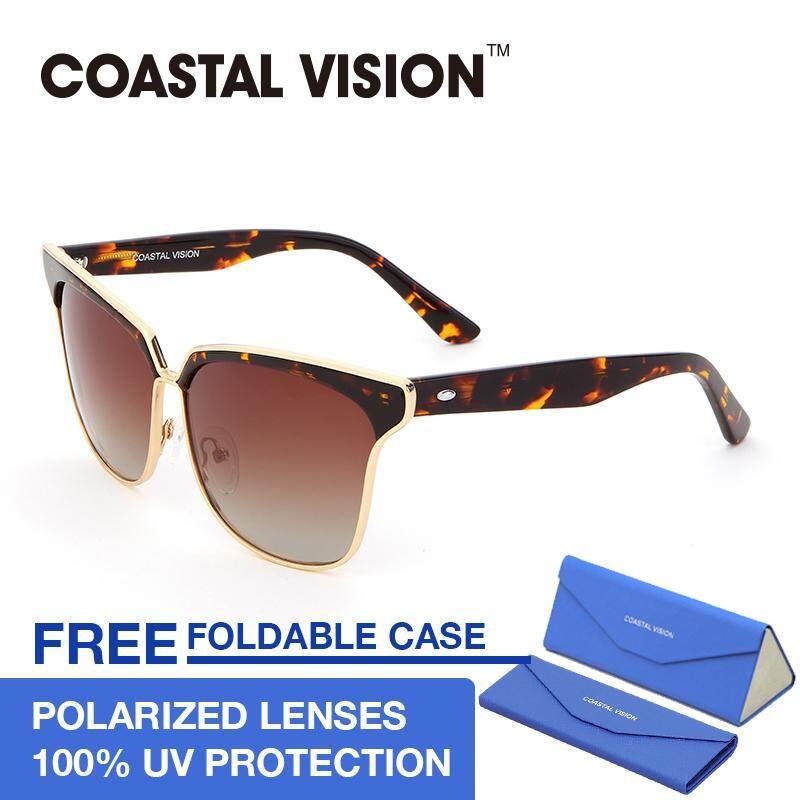 ขาย ซื้อ Coastal Vision แว่นกันแดดสำหรับผู้หญิง กรอบทรงตาแมวลายกระ เลนส์ป้องกันรังสี Uva B Cvs5023 ใน ฮ่องกง