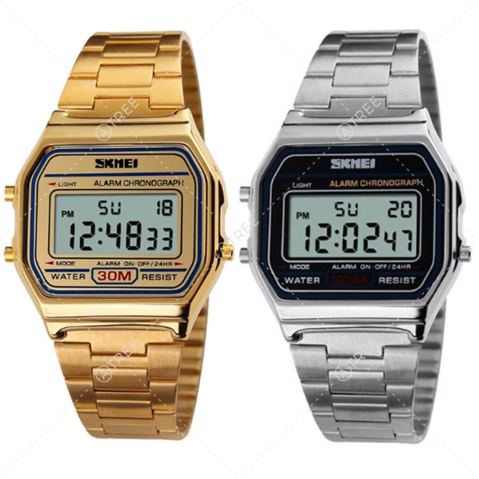 ขาย Skmei ของแท้ 100 ส่งในไทยไวแน่นอน แพ็คคู่ นาฬิกาข้อมือผู้หญิง สไตล์ Casual Bussiness Watch ซื้อ 1 แถม 1 จับเวลา ตั้งปลุกได้ ไฟ Led ส่องสว่าง สายแสตนเลสสีทอง รุ่น Sk M1123 สีทอง สีเงิน ใหม่