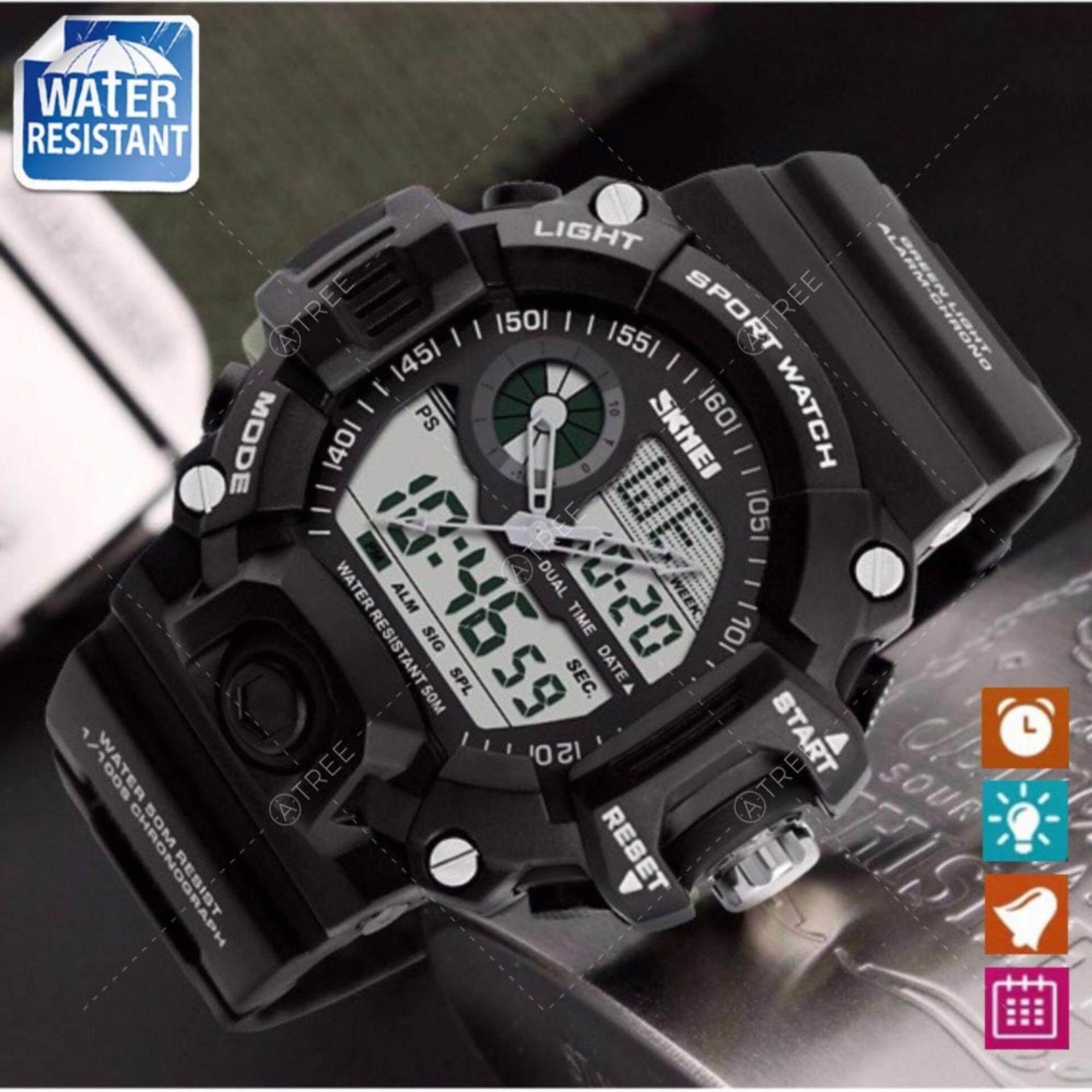 ซื้อ Skmei นาฬิกาข้อมือผู้ชาย สไตล์ Sport Digital Watch ใช้ได้ทั้ง Digital และ Analog บอกวันที่ ตั้งปลุก จับเวลา กันน้ำ สายเรซิ่นสีดำ รุ่น Sk M0009 สีขาว White ใน กรุงเทพมหานคร