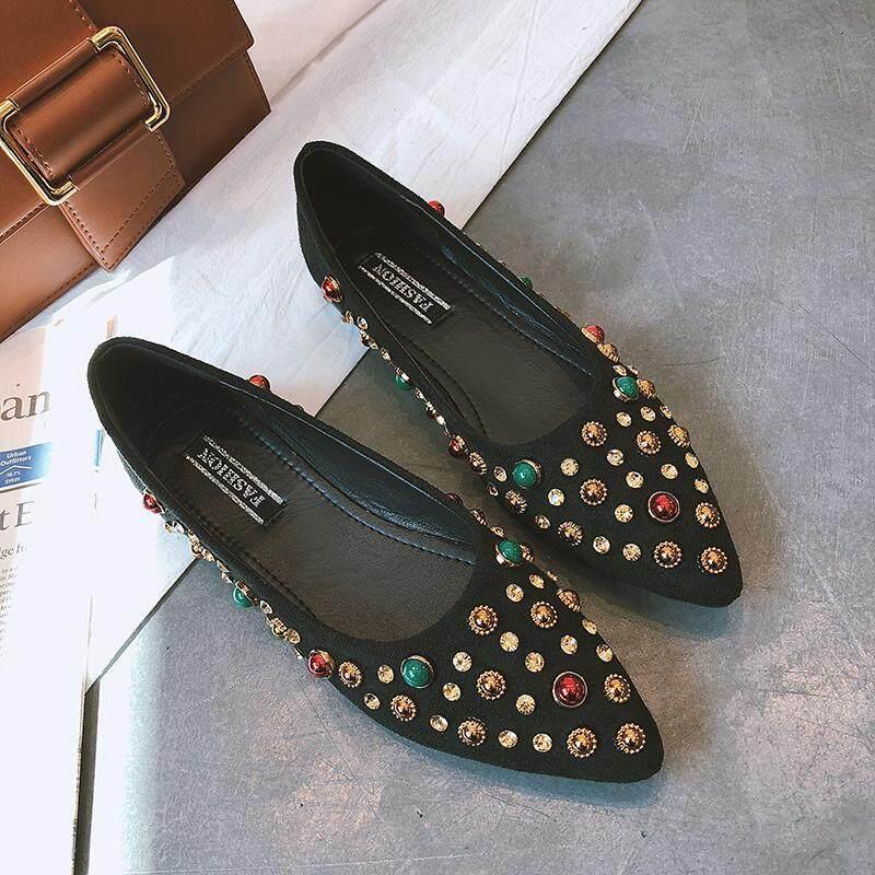 ซื้อ Ins ป่าฤดูใบไม้ผลิหญิงใหม่เกาหลีรองเท้า Peas สีดำ ใหม่