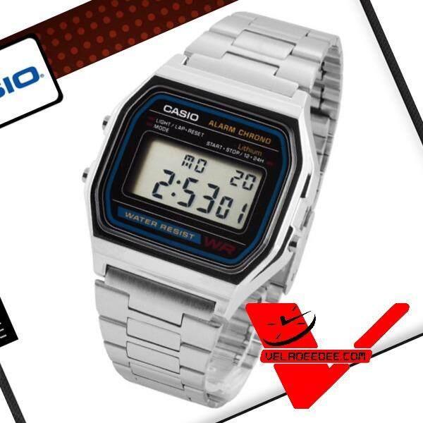 ส่วนลด Casio นาฬิกาข้อมือผู้ชาย สีเงิน สายสแตนเลส รุ่น A158Wa 1Df สีดำ เงิน