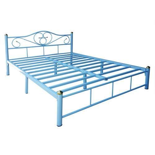 ราคา Adhome เตียงเหล็กคุณภาพ ขนาด 5 ฟุต ขา 2 นิ้ว รุ่น Lotus สีฟ้า เป็นต้นฉบับ