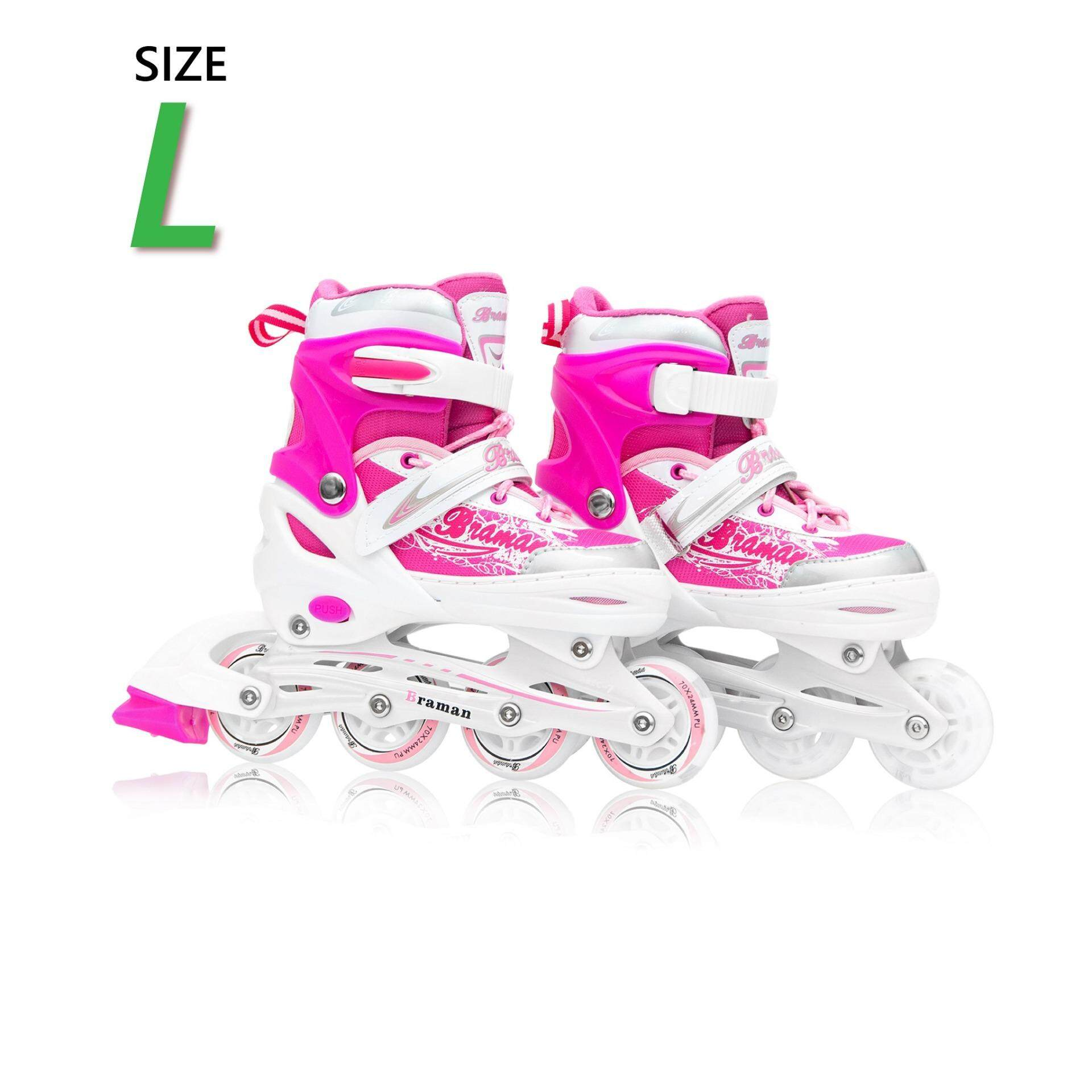 ราคา รองเท้าอินไลน์สเก็ต Premium Inline Skate Braman Aluminium Tracks Abec 7 Wheels With Lights 0415C Warranty 1 Year เบอร์ 33 36 Pink L