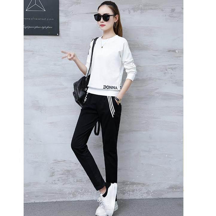 ทบทวน Fashion เซต 2 ชิ้น ชุดเสื้อแขนยาวสีขาว กางเกงขายาวสีดำ สีขาว ดำ รุ่น 202 Fashion