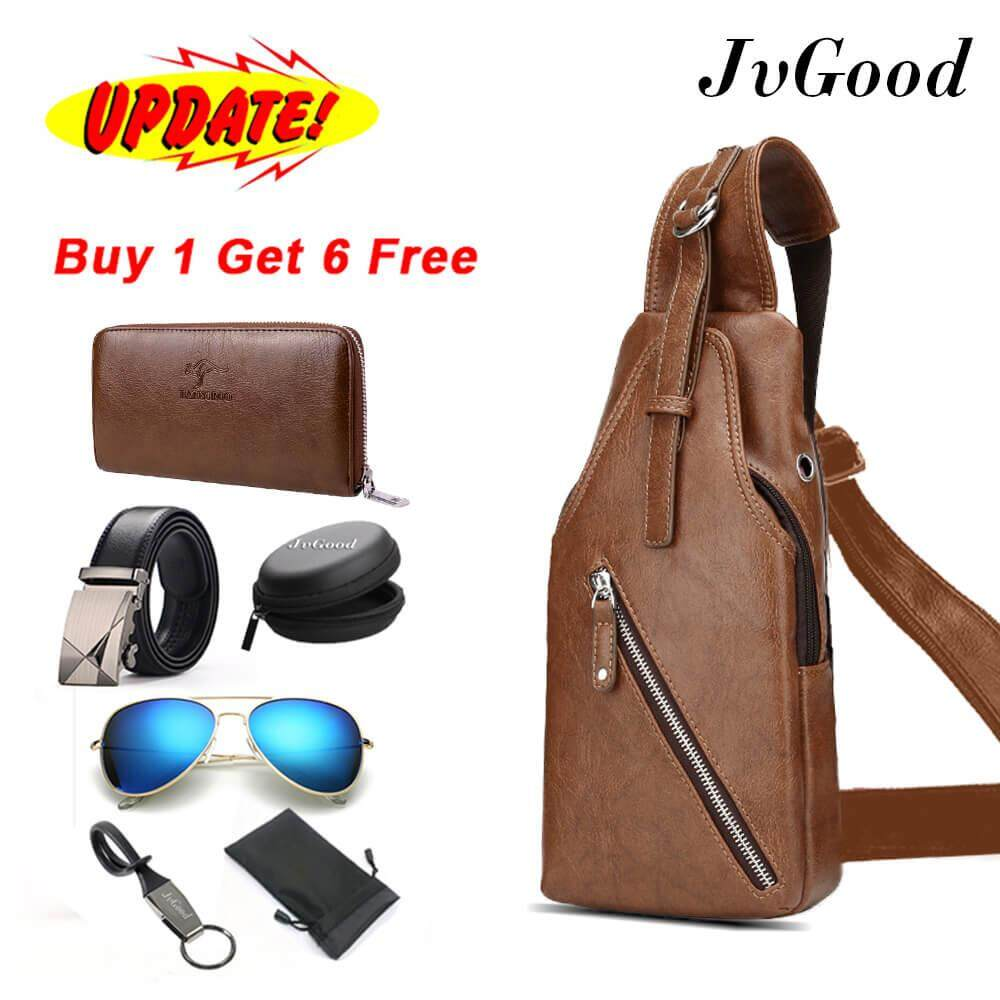 ขาย ซื้อ Jvgood Men Pu Leather Chest Bags Casual Bags Men Waterproof Sling Messenger Shoulder Bags Hiking Cycling Bicycle Bag With 6 Gifts Long Wallet Belt Sunglass Earphone Case Bag Keychain Pouch