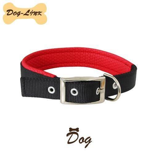 Dog-Link ปลอกคอนุ่มสีดำ 16 mm.