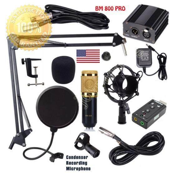 โปรโมชั่น Bm 800 Condensor Microphone ไมค์โครโฟนอัดเสียง ไมค์อัดเสียง Set 7 1 Sound Card Usb Phantom 48V ใน กรุงเทพมหานคร