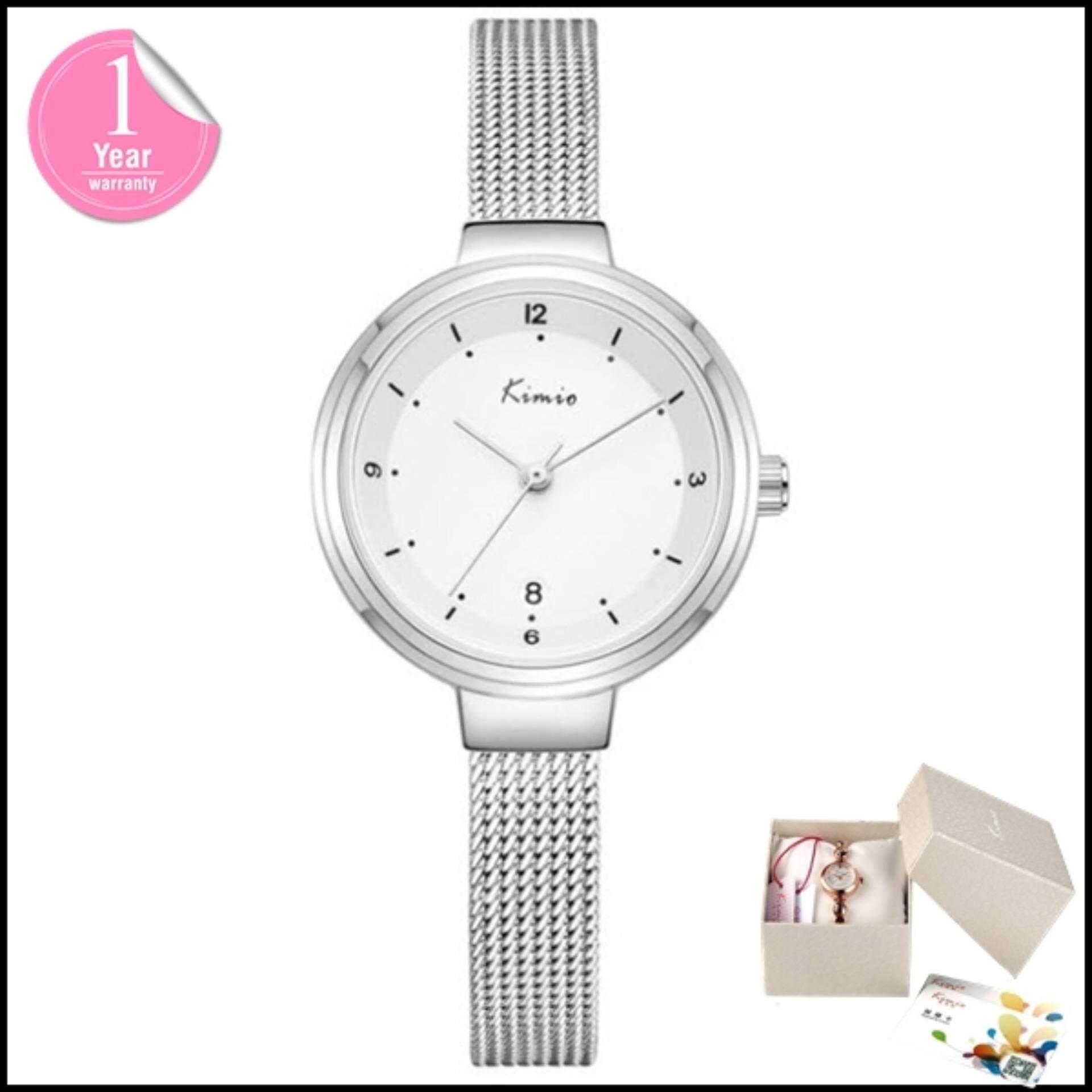 ความคิดเห็น Kimio นาฬิกาข้อมือผู้หญิง Casual Hi Fashion สายสแตนเลส สีเงิน ขาว รุ่น Kw6248