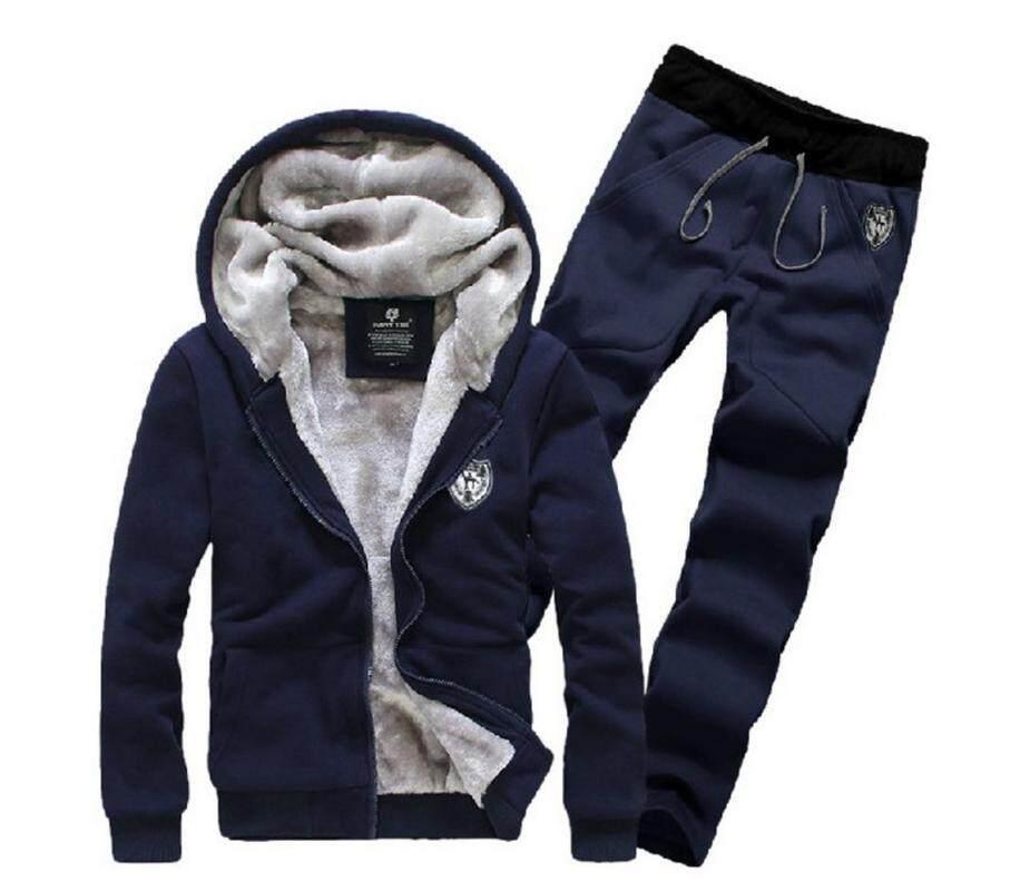 ขาย เสื้อแจ็คเก็ตพร้อมกางเกงจ๊อกเกอร์ Zashion Men S Two Piece Vevet Lined Jacket And Stylish Jogger Pants
