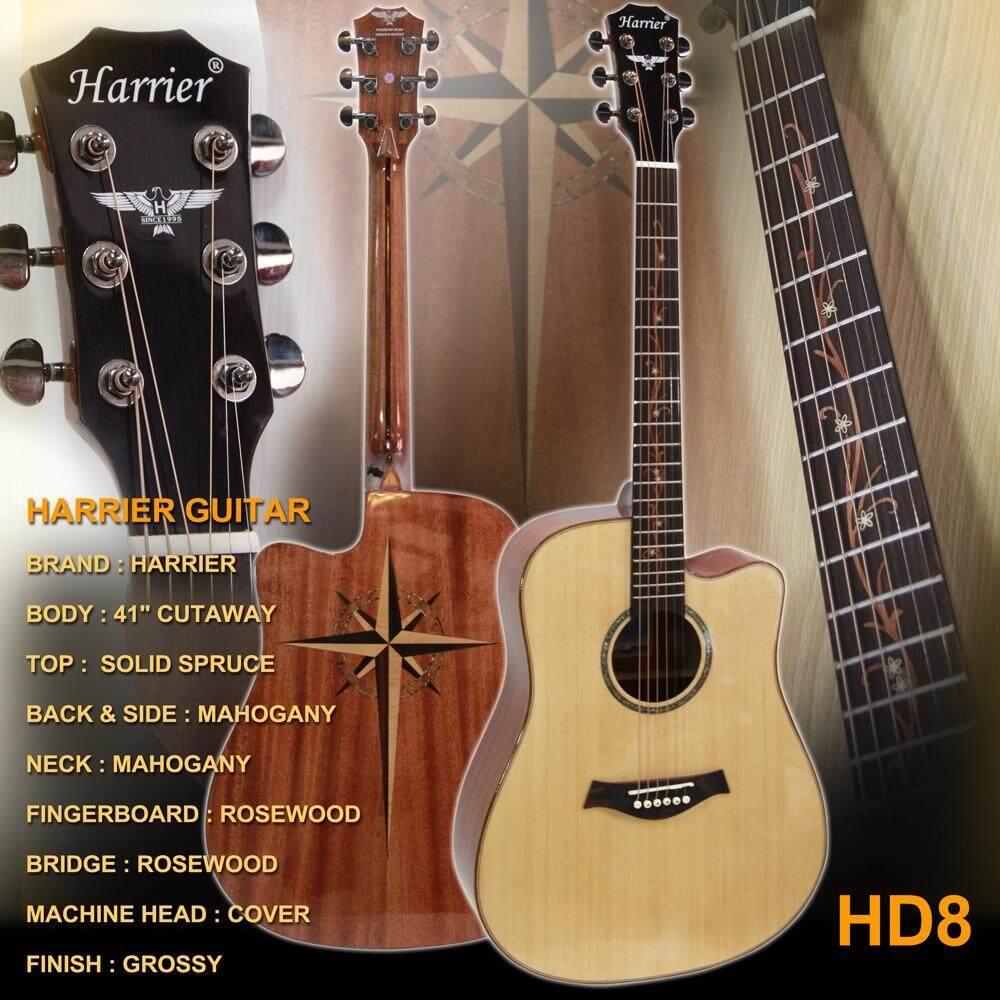 ซื้อ Harrier Guitar กีต้าร์โปร่ง 41 นิ้ว Top Solid Spruce รุ่น Hd8 สีไม้ ใหม่