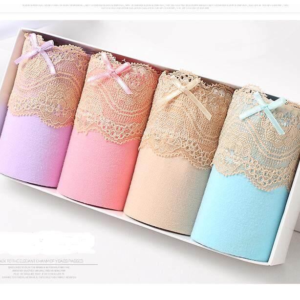 ราคา One Step กางเกงชั้นในผู้หญิง คละสี ผ้าเนื้อนุ่ม แต่งลูกไม้ด้านหน้า สี ฟ้า เนื้อ ชมพู โอรส แพคกล่องละ 4 ตัว รุ่น 019 ที่สุด