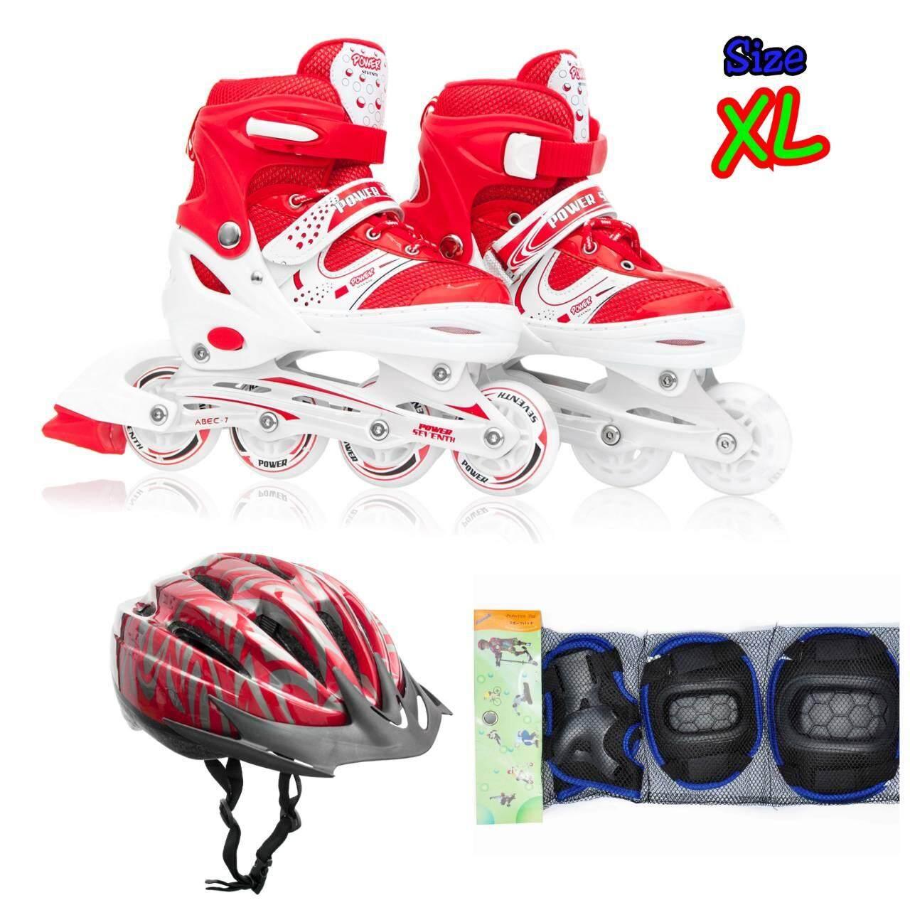 ราคา รองเท้าอินไลน์สเก็ต Premium Inline Skate Power Seventh Aluminium Tracks Abec 7 Wheels With Lights 0415A Warranty 1 Year เบอร์ 37 44 Red Xl ครบชุด เป็นต้นฉบับ Promark