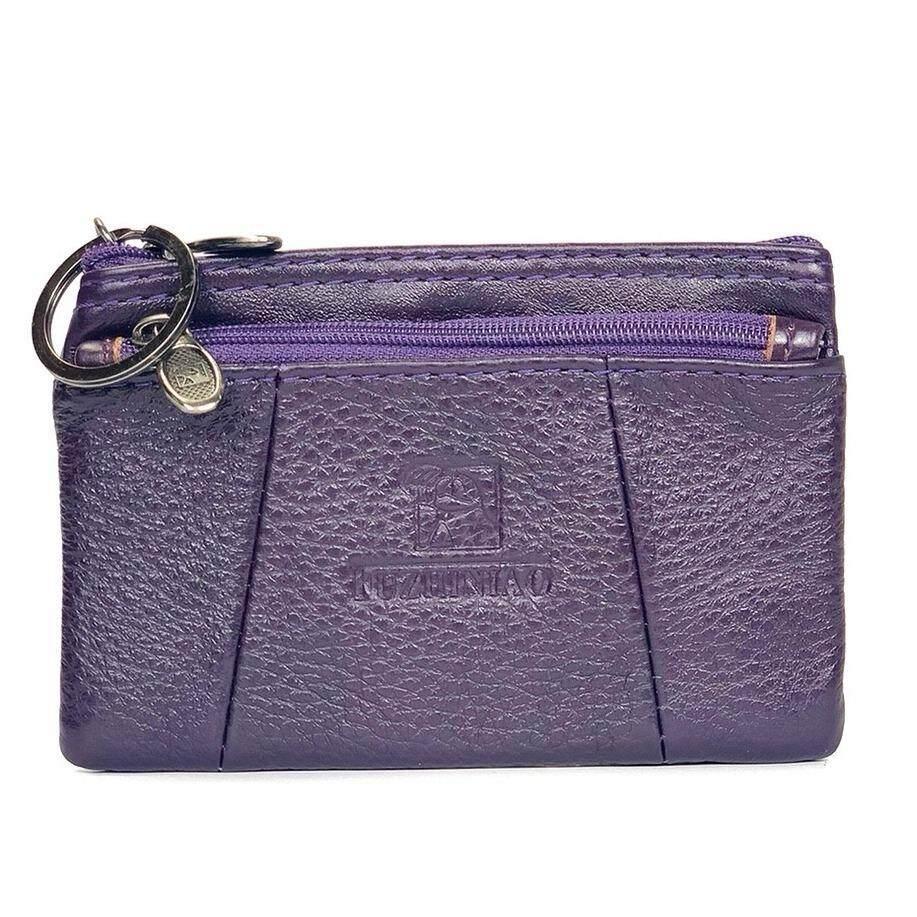 ซื้อ Chinatown Leather กระเป๋าหนังแท้รุ่น ใส่นามบัตร เหรียญ กุญแจ ซิปบน สีม่วง Chinatown Leather