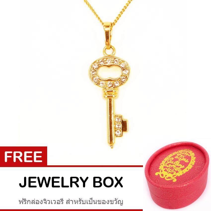 โปรโมชั่น Tips Gallery สร้อยคอพร้อมจี้ เงิน 925 หุ้ม ทองคำ แท้ 24K เพชร รัสเซีย 3 กะรัต รุ่น Key To My Heart Design Tns031 ฟรี กล่องจิวเวลรี ใน กรุงเทพมหานคร