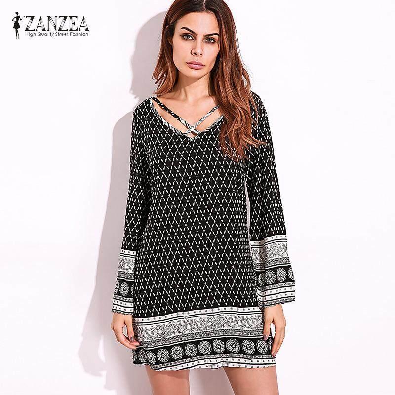 ราคา Zanzea V Neck Long Sleeve Womens Floral Print Casual Summer Beach Loose Vintage Straight Mini Dress Party Plus Size Intl