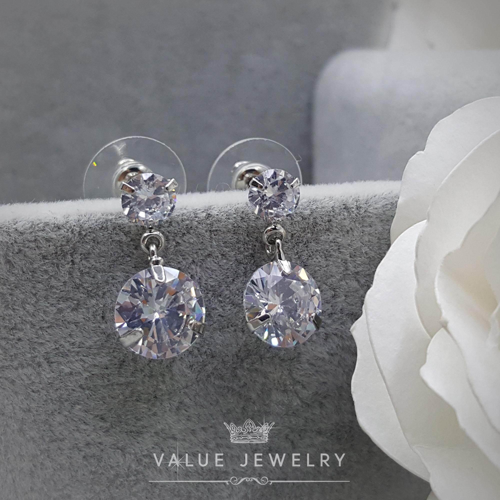 ราคา Value Jewelry ต่างหูแฟชั่นประดับเพชร Cz รุ่น Er2148 White Gold Plated เป็นต้นฉบับ
