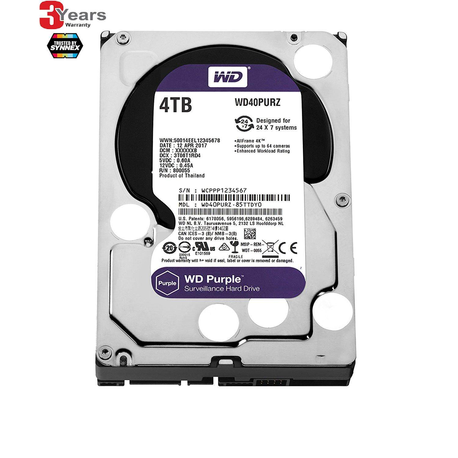ส่วนลด 4 Tb Hdd ฮาร์ดดิส Wd Sata 3 Purple Wd40Purz 3 Years Waranty By Synnex Wd