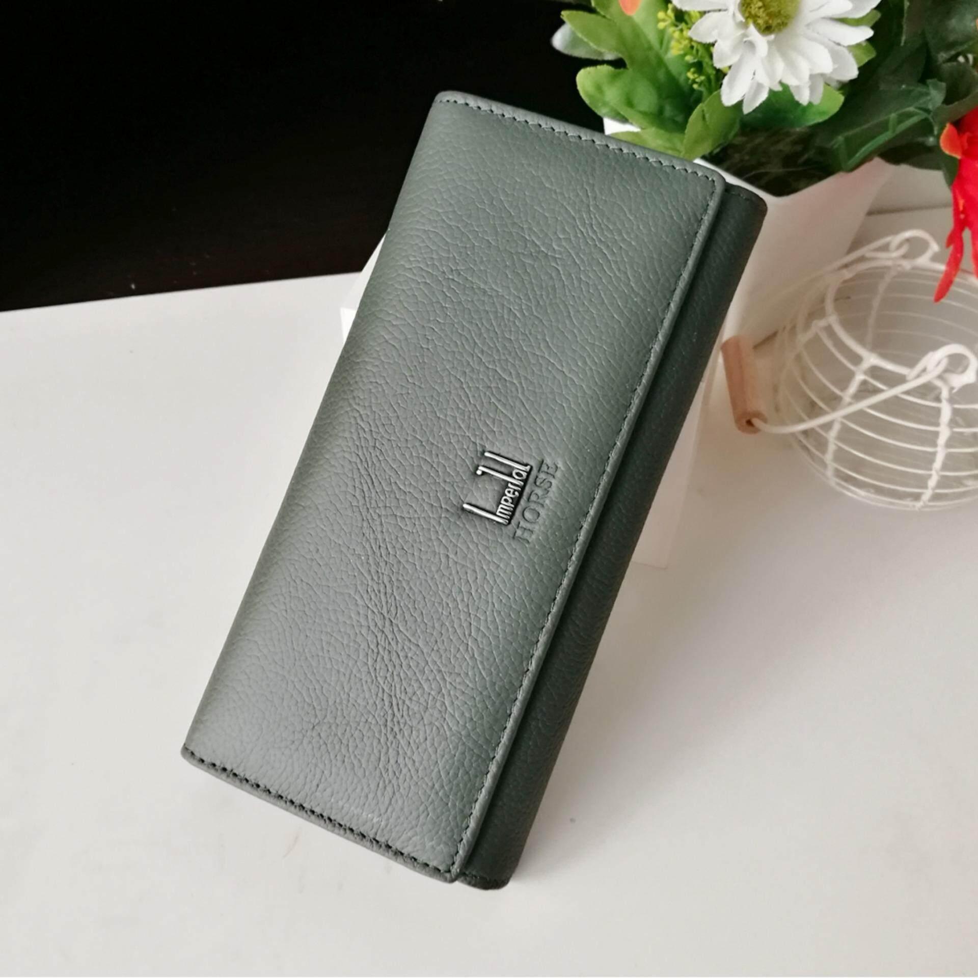 ราคา Leather Best Syyle กระเป๋าสตางค์หนังแท้ใบยาวมีช่องใส่เหรียญ รุ่น B005 9 5 สีเขียวเข้ม ราคาถูกที่สุด