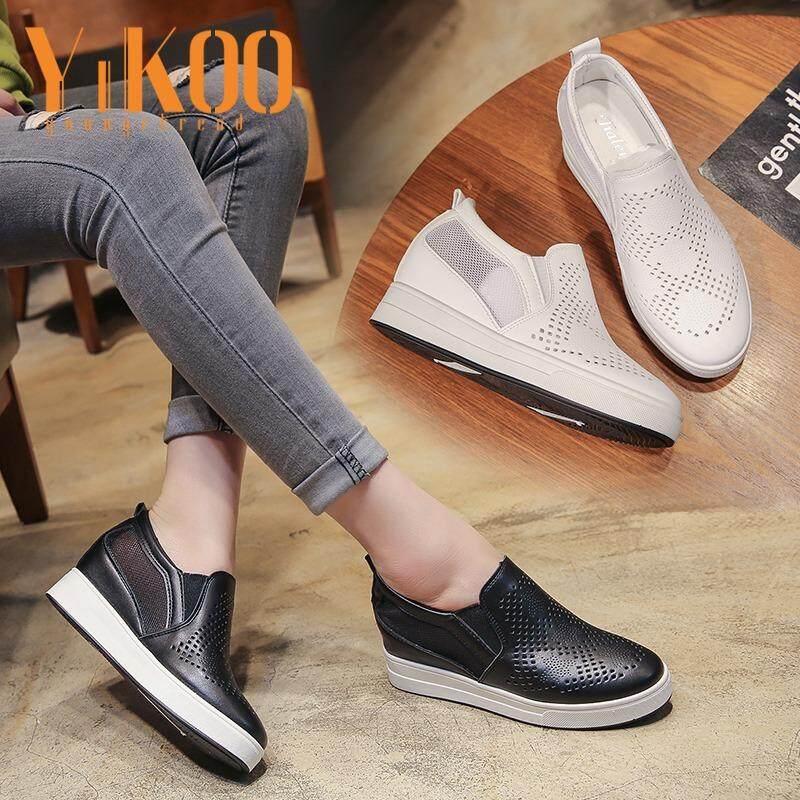 ขาย รองเท้าแฟชั่น Yikoo ของผู้หญิงลิ่มส้นรองเท้ากีฬารองเท้ากลางแจ้ง รองเท้าตาข่ายระบายอากาศ สีขาว นานาชาติ Yikoo