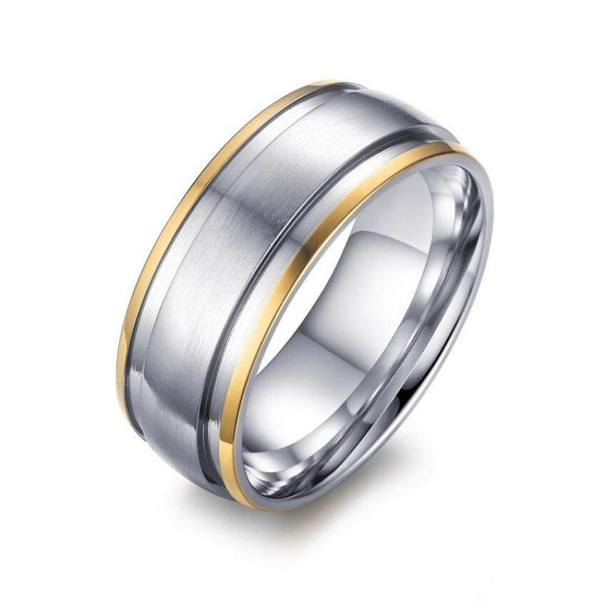 ขาย Fashion Stainless Steel Ring For Men Women Engagement Wedding Classic 18K Gold Plated Rings Jewelry Intl Unbranded Generic เป็นต้นฉบับ