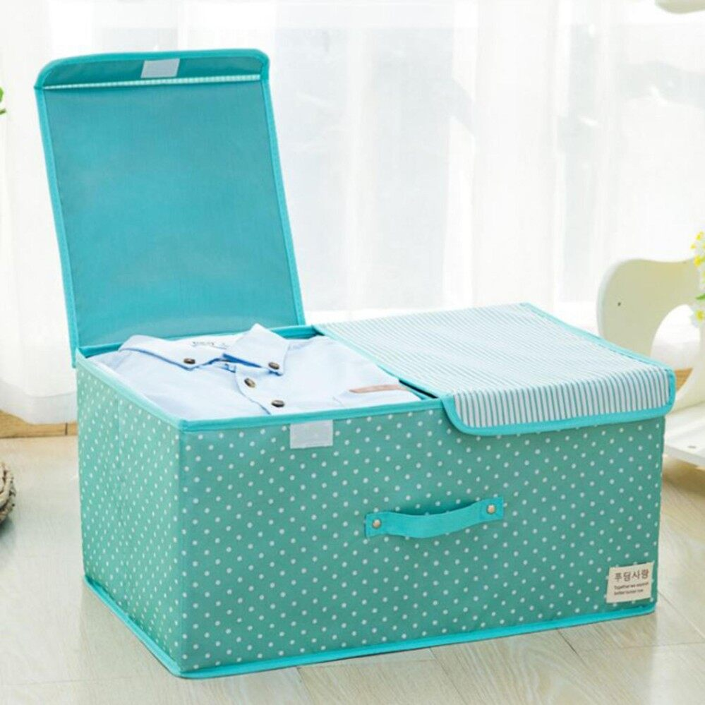 ขาย Healthy Club Storage Box กล่องใส่ของ กล่องเก็บของอเนกประสงค์ มีฝาปิดพับเก็บได้ รุ่น 2 ช่อง สีฟ้า ลายจุด