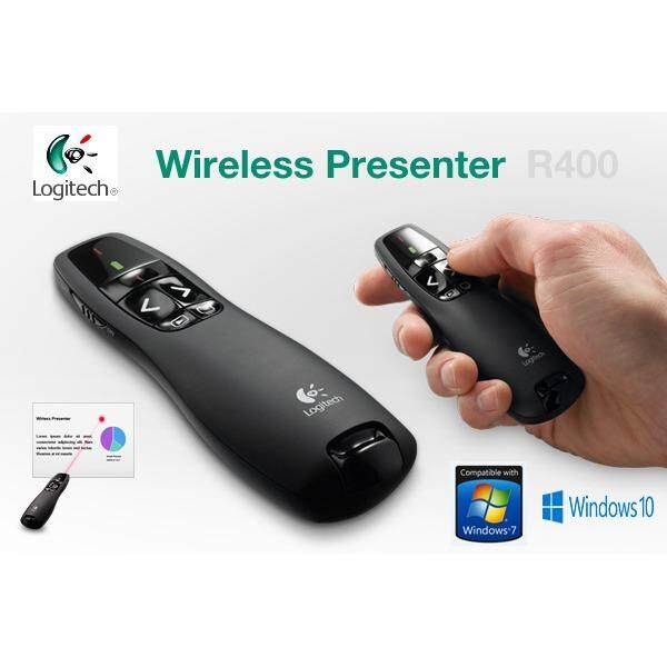 Logitech R400 Wireless Presenter Laser Pointer Black สีดำ เป็นต้นฉบับ