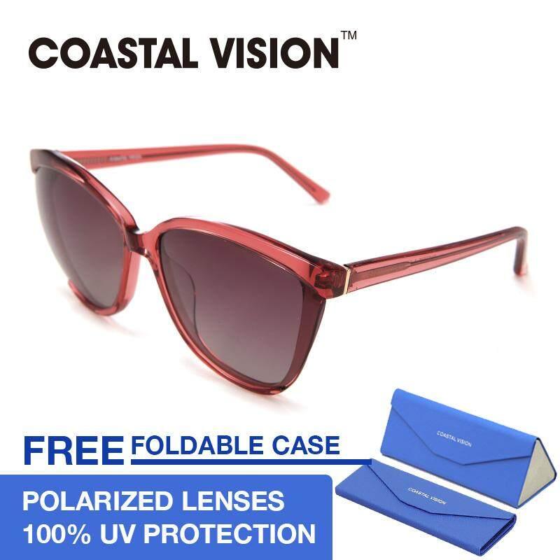 ขาย Coastal Vision แว่นกันแดดโพลาไรซ์สำหรับผู้หญิง ทรงกรอบใหญ่สีแดง เลนส์ป้องกันรังสี Uva B Cvs5036 Coastal Vision ถูก