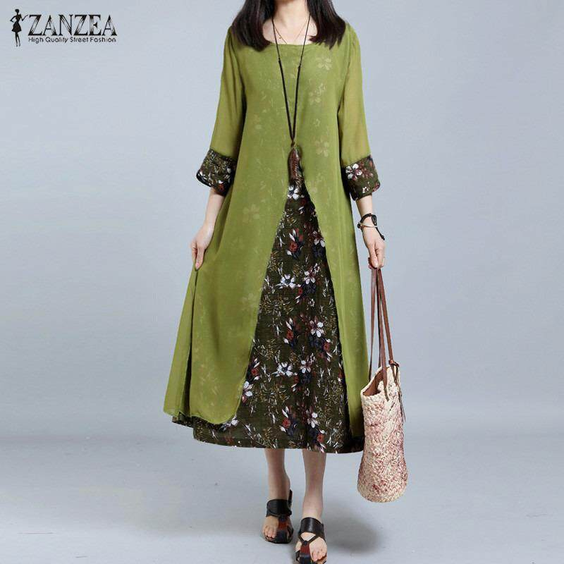 ซื้อ Zanzea Women Retro Floral Print Splice Loose Casual Long Shirt Dress Summer Ladies 3 4 Sleeve Vestido Kaftan Plus Size M 5Xl Intl ถูก ใน จีน