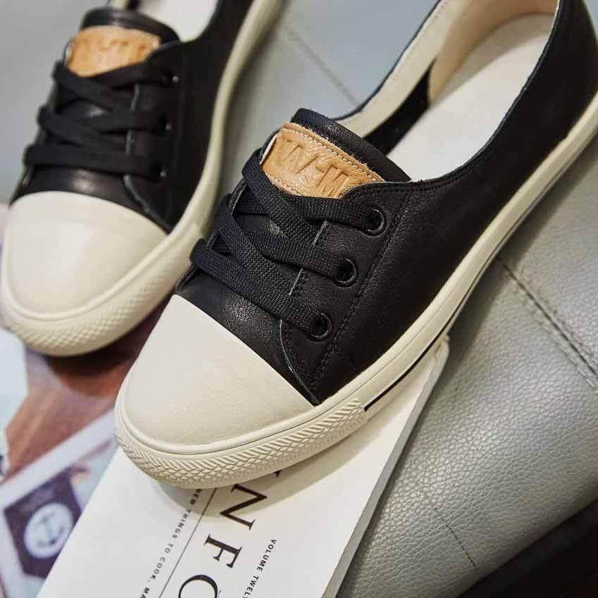 ขาย Meres รองเท้า รองเท้าแฟชั่น รองเท้าทรงผ้าใบ หนังแท้ 100 Leather Flat Shoes Sneakers Shoes 1710 ถูก ไทย