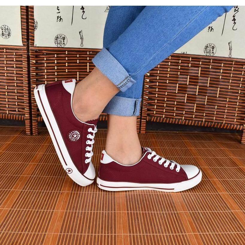 ขาย รองเท้าผ้าใบผู้หญิง 9108 สีแดงเลือดหมู