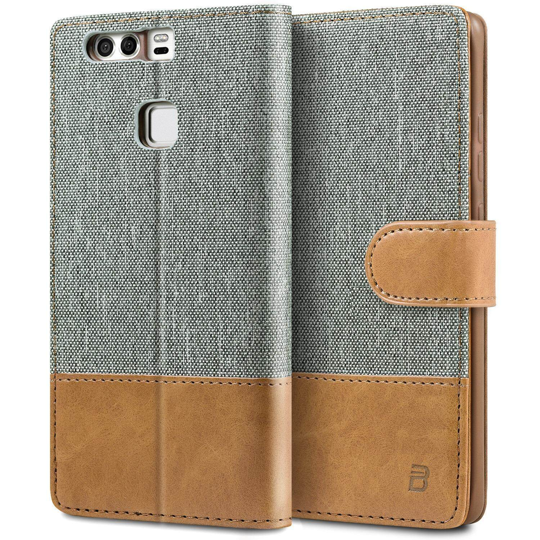 โปรโมชั่น เคส หัวเหว่ย P9 เคสหนัง ผสมผ้า ฝาพับ ฝาปิด ซองมือถือ Bez® Huawei P9 Wallet Flip Case Cover Canvas Faux Leather Tt1 Hp9 Bez®