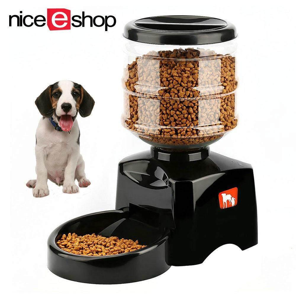 NiceEshop ใหม่ 5.5L สัตว์เลี้ยงอัตโนมัติที่มีบันทึกข้อความเสียงและหน้าจอ LCD สุนัขขนาดใหญ่สมาร์ทสุนัขเครื่องชามอาหารสีดำ