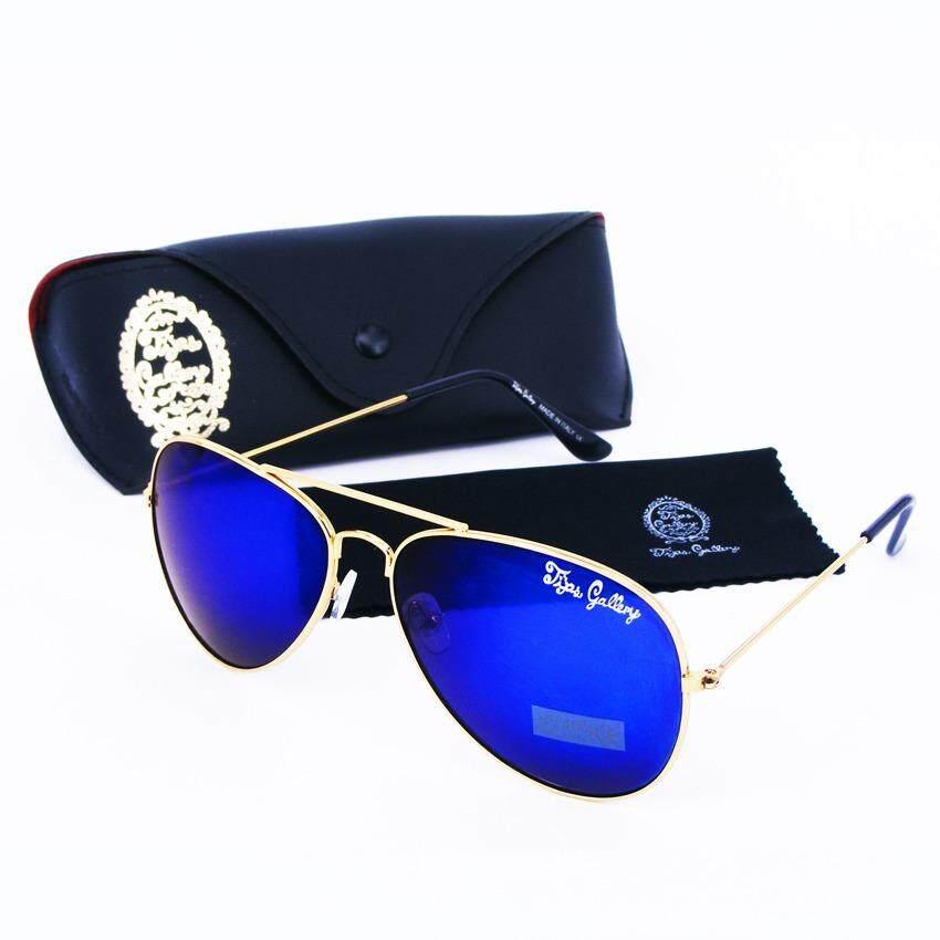 ขาย Tips Gallery แว่นตากันแดด รุ่น Le Pilote Design Vfr001 เลนส์ ปรอท ฟ้า Flash Blue Spectrum ฟรี กล่องแว่นตา และ ผ้าเช็ดแว่น Micro Fiber