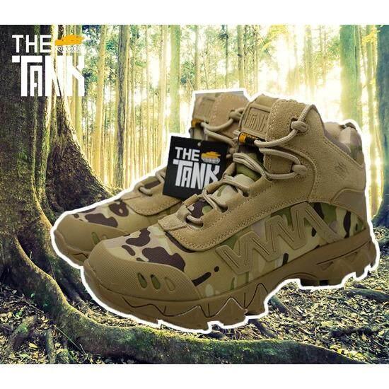 ราคา The Tank รองเท้าเดินป่า รองเทา้ทหาร ลุยงาน ลงสนาม สไตล์ทหารนิยมใช้ ของแท้ต้องมี Logo ปั้มรถถังบนตัวหนัง กันน้ำ แถมฟรีถุงผ้า The Tank The Tank