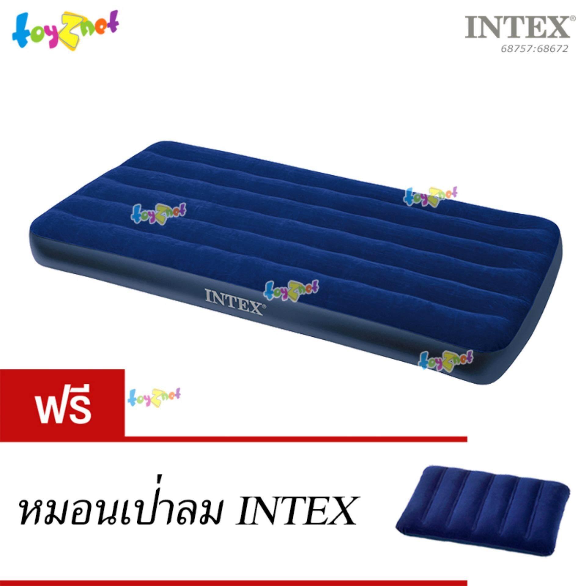 ขาย Intex ที่นอนเป่าลม แค้มป์ แคมป์ปิ้ง ปิคนิค 3 5 ฟุต ทวิน 99X191X22 ซม สีน้ำเงิน รุ่น 68757 ฟรี หมอนเป่าลม Intex กรุงเทพมหานคร