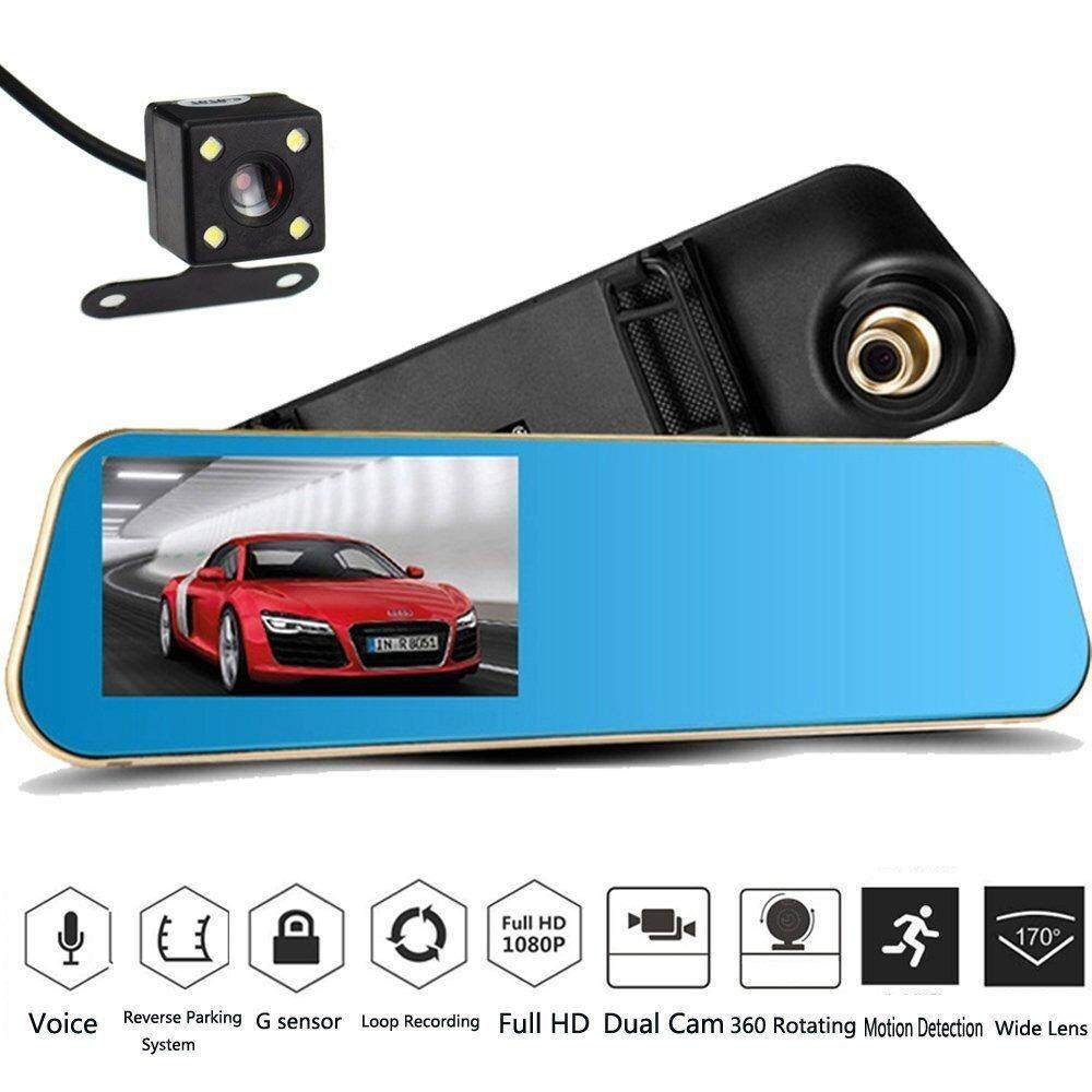 ซื้อ Car Video Recorder Full Hd 1080P Car Video Camera With Dual Lens For Vehicles Front Rearview Mirror Car Dvr Dash Cam With Reverse Parking System Rear Cam With Night Vision Waterproof Intl ใหม่