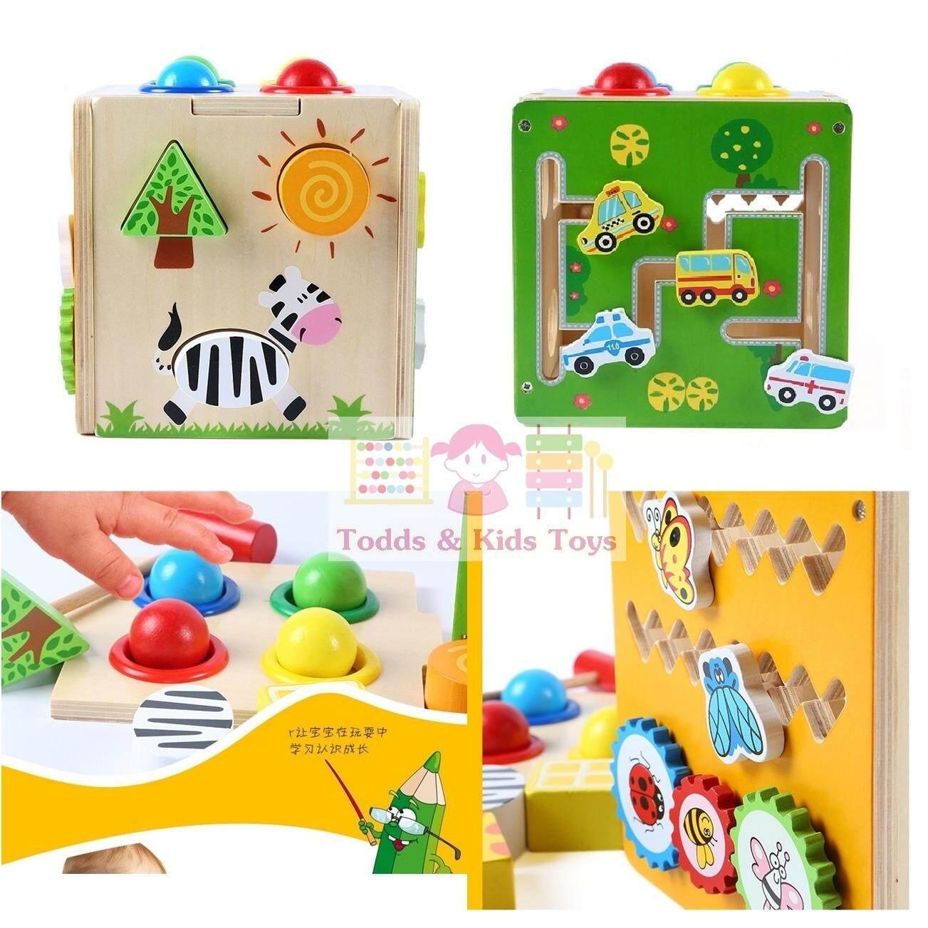 ส่วนลด Todds Kids Toys ของเล่นเสริมพัฒนาการ ของเล่นไม้ กล่องกิจกรรมฝึกกล้ามเนื้อ ตอกทุบ หยอดบล็อก รางเลื่อน