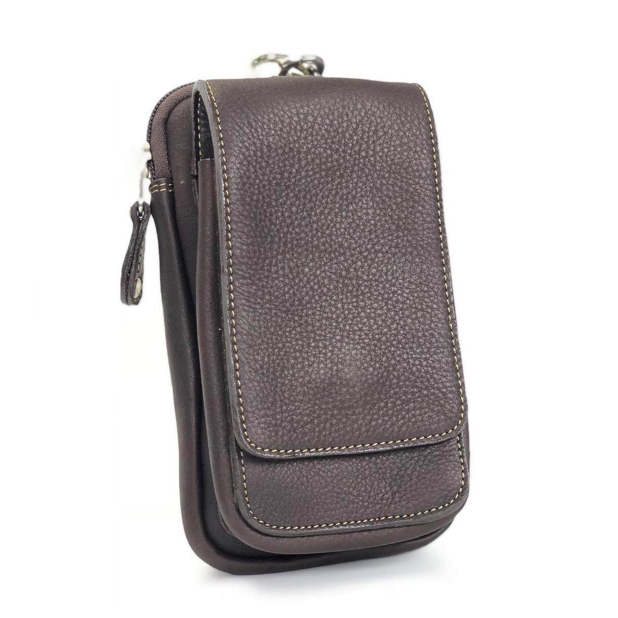 ซื้อ Chinatown Leather กระเป๋าหนังแท้ใส่มือถือร้อยเข็มขัด หนังชาร์มัวร์ สีน้ำตาล Chinatown Leather