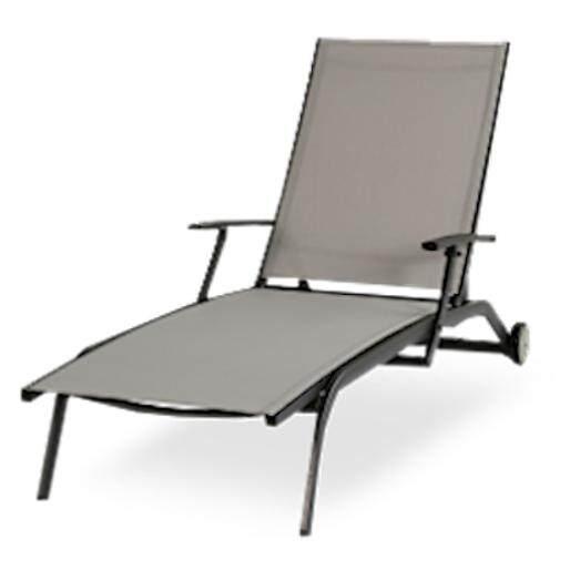 ขาย เตียงอาบแดด กรอบอลูมิเนียม Textiline ทำความสะอาดง่าย ผ่อนคลายภายนอก เก้าอี้นั่งเล่นที่สมบูรณ์แบบ สีเทา Edenko ถูก