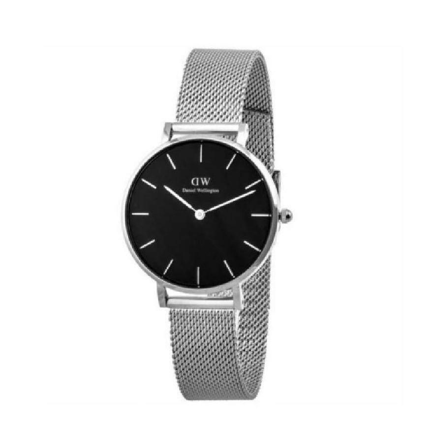 Daniel Wellington Dw00100162 Classic Petite Sterling 32Mm นาฬิกาข้อมือ นาฬิกาแฟชั่น ผู้หญิง เหล็กสาน สีเงิน Fashion Black Dial Mesh Strap Women Watch Silver Case Mesh Strap ใหม่ล่าสุด