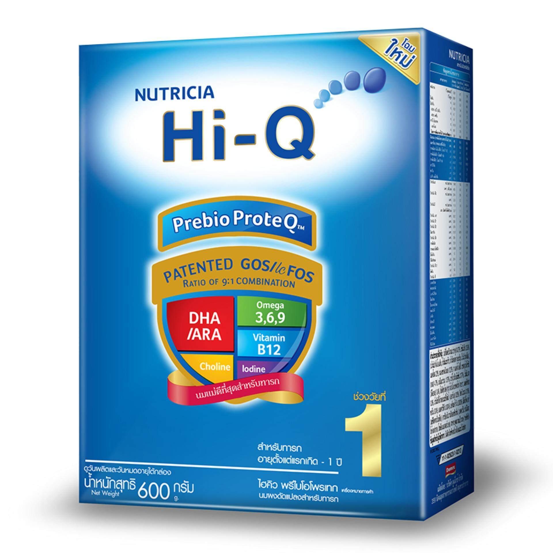 HI-Q ไฮคิว นมผง พรีไบโอโบรเทก ช่วงวัยที่ 1 รสจืด 600 กรัม