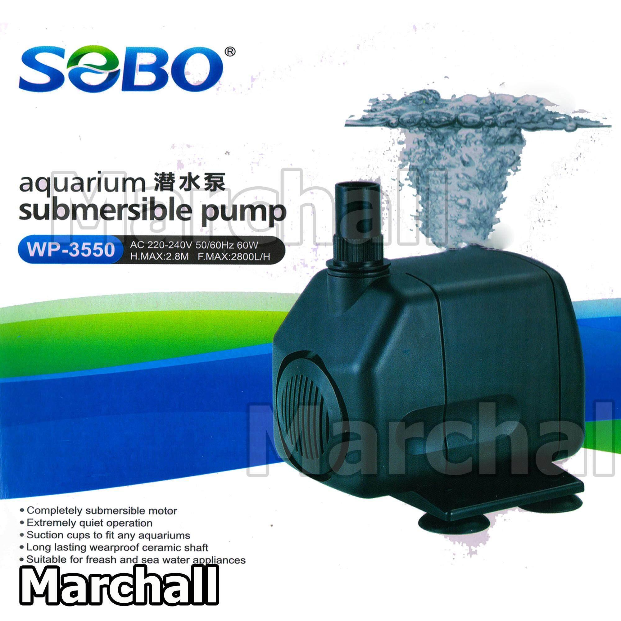 SOBO ปั๊มน้ำ WP-3550 สำหรับ บ่อปลา บ่อกุ้ง บ่อกรอง น้ำพุ ปั๊มแช่ ปั๊มน้ำพุ ปั้มน้ำได้ 2800 L/H ขนาด 60W แกนใบพัดเซรามิค น้ำแรง สม่ำเสมอ เสียงเงียบแข็ง แรงทนทาน ทำออกซิเจน น้ำใส แต่งสวน ตู้ปลา ไม้น้ำ ตู้ปลาทะเล น้ำจืด ทำน้ำตก ดูดน้ำได้