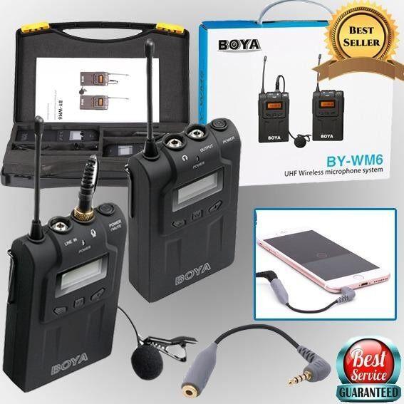 Boya wireless ไมค์ รุ่น BY-WM6 พร้อมสายเเปลงรองรับสมาร์ทโฟน (ของเเท้ 100%)