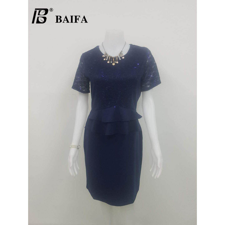 ขาย Baifa Shopชุดเดรส สีดำ แต่งผ้าทับกัน แข่งสั้นผ้าลูกไม้ผ่าข้างแต่งโบว์ C32001 ออนไลน์